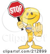 Golden Key Mascot Character Holding A Stop Sign