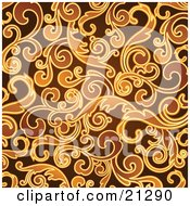 Clipart Illustration Of A Curly Vine Scroll Backgtround In Brown And Orange Hues by OnFocusMedia