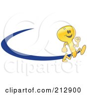 Royalty Free RF Clipart Illustration Of A Running Golden Key Mascot Character Logo With A Blue Dash