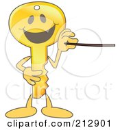 Golden Key Mascot Character Using A Pointer Stick