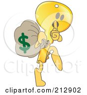 Royalty Free RF Clipart Illustration Of A Golden Key Mascot Character Robbing A Bank