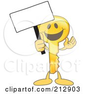 Golden Key Mascot Character Holding Up A Blank Sign