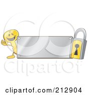 Royalty Free RF Clipart Illustration Of A Golden Key Mascot Character And Padlock With A Silver Plate