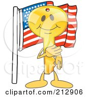 Royalty Free RF Clipart Illustration Of A Golden Key Mascot Character By An American Flag
