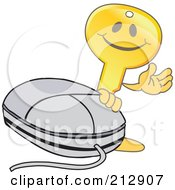 Royalty Free RF Clipart Illustration Of A Golden Key Mascot Character Waving By A Computer Mouse