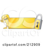 Royalty Free RF Clipart Illustration Of A Golden Key Mascot Character And Padlock With A Gold Plate