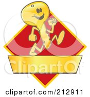 Royalty Free RF Clipart Illustration Of A Running Golden Key Mascot Character Logo Over A Red Diamond And Gold Banner