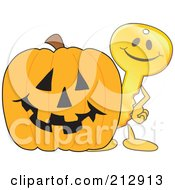 Golden Key Mascot Character With A Halloween Pumpkin