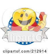 Royalty Free RF Clipart Illustration Of A Golden Key Mascot Character Logo With A Phone Banner And American Stars