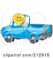 Royalty Free RF Clipart Illustration Of A Golden Key Mascot Character Driving A Truck