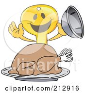 Royalty Free RF Clipart Illustration Of A Golden Key Mascot Character Serving A Thanksgiving Turkey