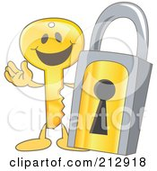 Royalty Free RF Clipart Illustration Of A Golden Key Mascot Character By A Padlock by Toons4Biz