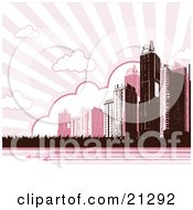 Tall City Skyscraper Buildings Under Clouds In A Striped Pink Sky