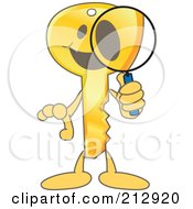 Royalty Free RF Clipart Illustration Of A Golden Key Mascot Character Searching