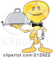 Royalty Free RF Clipart Illustration Of A Golden Key Mascot Character Serving A Platter