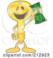 Royalty Free RF Clipart Illustration Of A Golden Key Mascot Character Holding Up A Dollar Bill