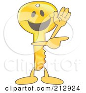 Royalty Free RF Clipart Illustration Of A Golden Key Mascot Character Waving And Pointing