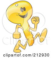 Royalty Free RF Clipart Illustration Of A Golden Key Mascot Character Running