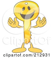 Royalty Free RF Clipart Illustration Of A Golden Key Mascot Character Smiling