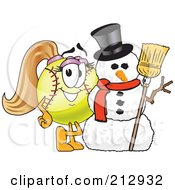 Royalty Free RF Clipart Illustration Of A Girly Softball Mascot Character By A Snowman by Toons4Biz