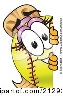 Royalty Free RF Clipart Illustration Of A Girly Softball Mascot Character Looking Around A Blank Sign by Toons4Biz