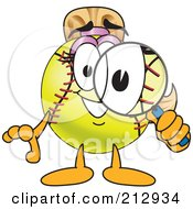 Royalty Free RF Clipart Illustration Of A Girly Softball Mascot Character Using A Magnifying Glass by Toons4Biz