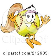 Royalty Free RF Clipart Illustration Of A Girly Softball Mascot Character Jumping