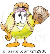 Royalty Free RF Clipart Illustration Of A Girly Softball Mascot Character Catching A Ball In A Mitt by Toons4Biz