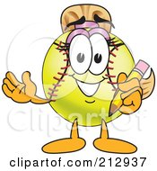 Royalty Free RF Clipart Illustration Of A Girly Softball Mascot Character Holding A Pencil by Toons4Biz