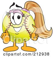 Royalty Free RF Clipart Illustration Of A Girly Softball Mascot Character Pointing Outwards