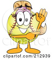 Royalty Free RF Clipart Illustration Of A Girly Softball Mascot Character Waving And Pointing by Toons4Biz