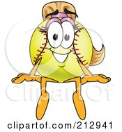 Royalty Free RF Clipart Illustration Of A Girly Softball Mascot Character Sitting On A Ledge by Toons4Biz