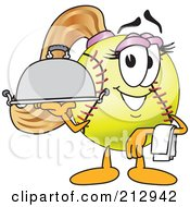 Royalty Free RF Clipart Illustration Of A Girly Softball Mascot Character Serving A Platter by Toons4Biz