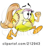 Royalty Free RF Clipart Illustration Of A Girly Softball Mascot Character Running by Toons4Biz