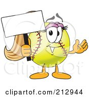 Royalty Free RF Clipart Illustration Of A Girly Softball Mascot Character Holding A Blank Sign by Toons4Biz