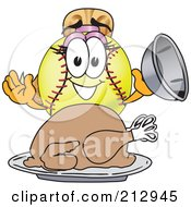 Royalty Free RF Clipart Illustration Of A Girly Softball Mascot Character Serving A Thanksgiving Turkey by Toons4Biz