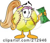 Royalty Free RF Clipart Illustration Of A Girly Softball Mascot Character Holding Money by Toons4Biz