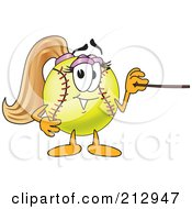 Royalty Free RF Clipart Illustration Of A Girly Softball Mascot Character Using A Pointer Stick by Toons4Biz