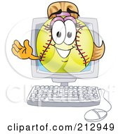 Royalty Free RF Clipart Illustration Of A Girly Softball Mascot Character Waving From A Computer Screen by Toons4Biz