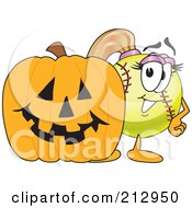 Royalty Free RF Clipart Illustration Of A Girly Softball Mascot Character By A Halloween Pumpkin