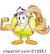 Royalty Free RF Clipart Illustration Of A Girly Softball Mascot Character Flexing Her Muscles by Toons4Biz