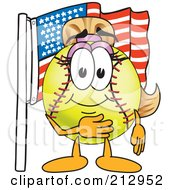 Royalty Free RF Clipart Illustration Of A Girly Softball Mascot Character By An American Flag by Toons4Biz