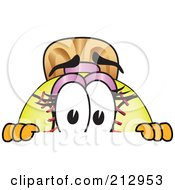 Royalty Free RF Clipart Illustration Of A Girly Softball Mascot Character Looking Over A Blank Sign