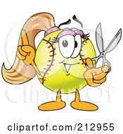 Royalty Free RF Clipart Illustration Of A Girly Softball Mascot Character Holding Scissors by Toons4Biz