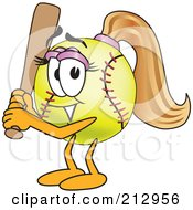 Royalty Free RF Clipart Illustration Of A Girly Softball Mascot Character Holding A Bat by Toons4Biz