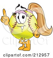 Royalty Free RF Clipart Illustration Of A Girly Softball Mascot Character Pointing Upwards by Toons4Biz