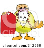 Royalty Free RF Clipart Illustration Of A Girly Softball Mascot Character Holding A Blank Tag by Toons4Biz