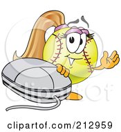 Royalty Free RF Clipart Illustration Of A Girly Softball Mascot Character Waving By A Computer Mouse by Toons4Biz