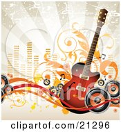 Clipart Illustration Of An Acoustic Guitar With Music Notes And Radio Speakers Over A Grunge Background by OnFocusMedia #COLLC21296-0049