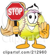 Royalty Free RF Clipart Illustration Of A Girly Softball Mascot Character Holding A Stop Sign by Toons4Biz
